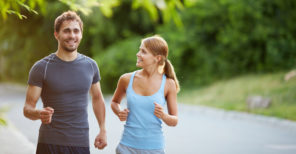 happy fit couple running together