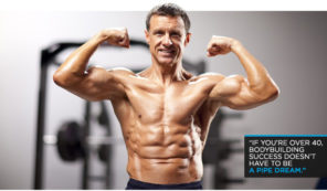 middle aged muscular man flexing arms
