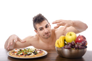 Lost in temptation pizza vs fruits