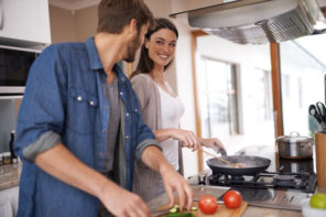 couple preparing healthy meal together