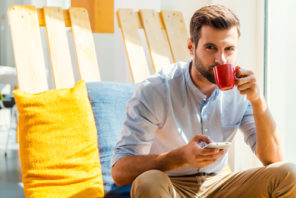 man drinking his coffee in the morning