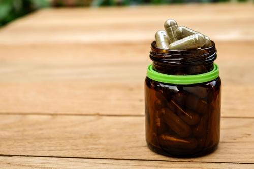 bottle of laxative capsules
