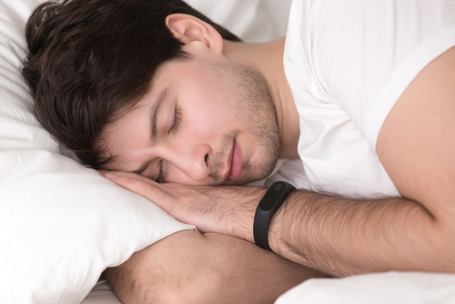 man having peaceful sleep
