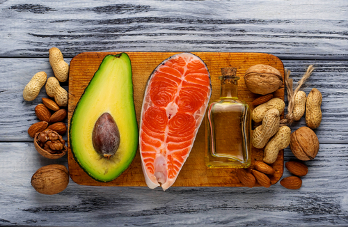 protein and good fat food sources salmon avocado nuts