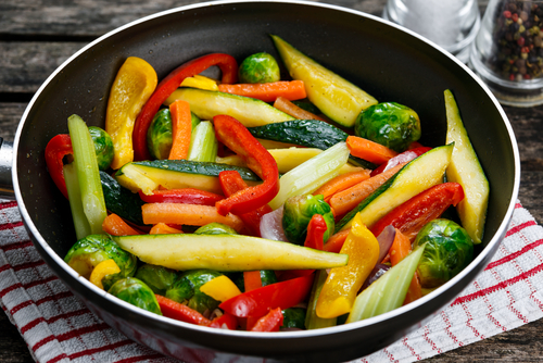fresh stir fried vegetables elemental diet and Progentra supplements