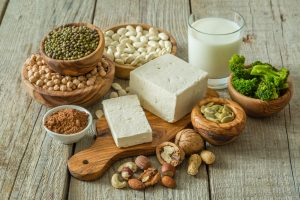 vegan food as protein sources, soy and nuts