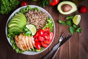 healthy salad with grilled chicken and avocado