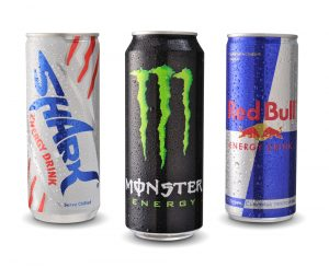 shark monster red bull energy drinks in can