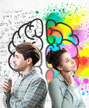 man and woman with 2 different sides of the brain illustrated on background