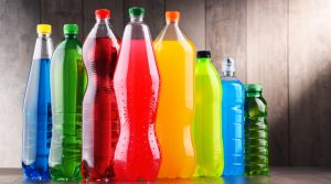 bottles of sugary and carbonated drinks