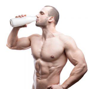 fit man drinks milk